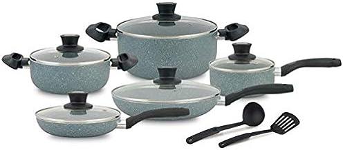 طقم قدور طهي مطلي بالغرانيت وغير لاصق، 12 قطعة، Al004، 131130068-G