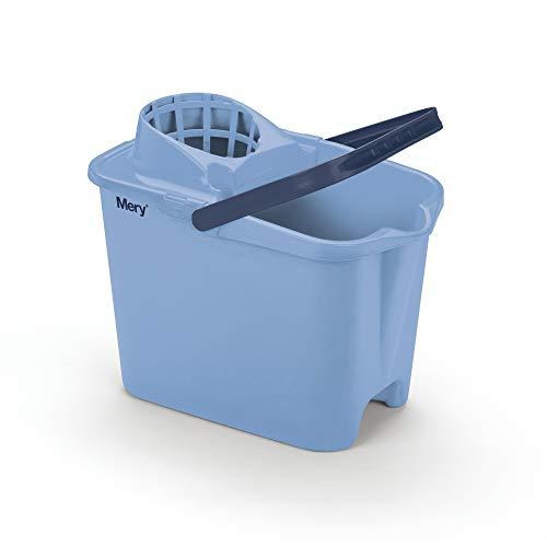 Mery fregona | con ruebas | Cubo con asa y escurridor | Medidas: 25.5X39X36.5 | Color Azul Mate