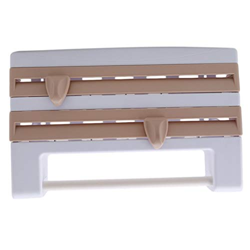 XQWR Multifunktionales Frischhaltefolien-Aufbewahrungsregal Wand-Frischhaltefolie Kunststofffolie und Folienspender (Khaki)