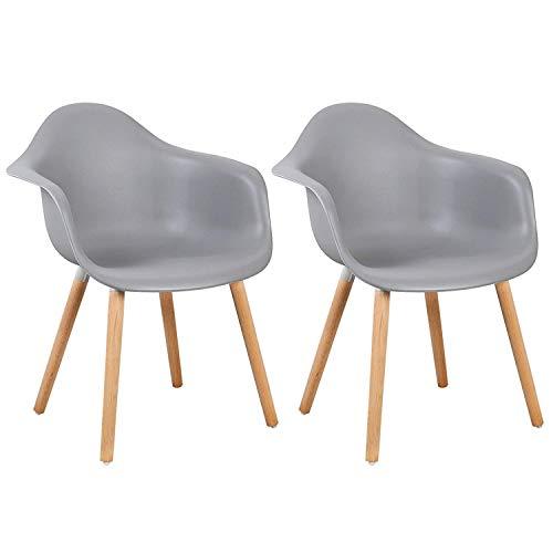 Naturelifestore - Juego de 2 sillas con reposabrazos (Ideal para Cocina, salón, Comedor, cafetería, Restaurante), Color Gris
