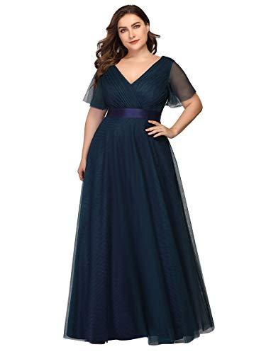 Ever-Pretty Damen Abendkleid V Ausschnitt A-Linie Kurze Ärmel Lange Tüll Brautjungfernkleid Navy blau 50