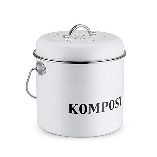 Cubo de compost para encimera de cocina con asa de transporte y...