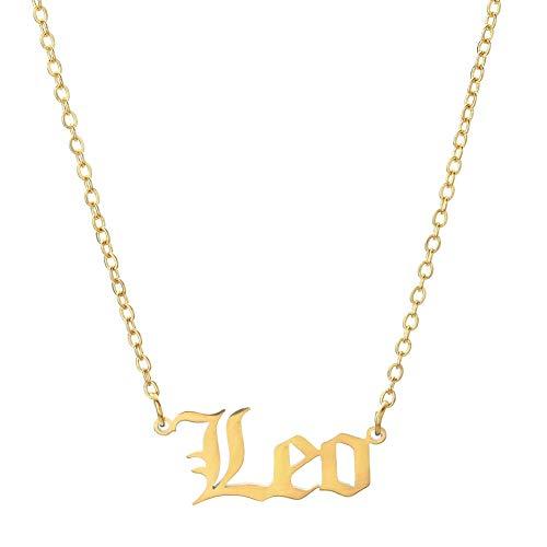 Collar con signo del zodiaco de Leo Virgo antiguo inglés para mujer, chapado en oro de 18 quilates, collar de astrología horóscopo de constilación regalo de cumpleaños