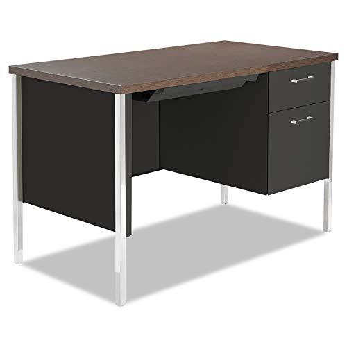 Alera 45 by 24 by 29-1/2-Inch Single Pedestal Steel Desk, Walnut