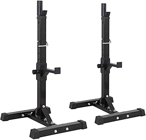 YZG LIFE Pair of Adjustable Squat Rack 41-66 Inch Max Load 550lbs Solid Steel Squat Stands Barbell Free Bench Home Gym Dumbbell Racks Stands