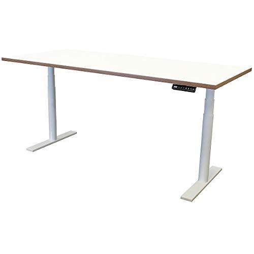 newpo escritorio de ajustable eléctricamente con tablero de mesa | 180 x 80 cm | blanco|marrón | Mesa alta Mesa de oficina Marco de la mesa