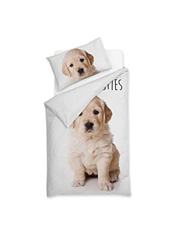 Sognamo Hunde Dogs - Bettwäsche - Baumwolle - 135x200cm  80x80 Farbe Weiss WhiteI Reißverschluss I Bio I Fair Trade