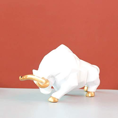 LGYKUMEG Figura de vaca de resina modelo buey buey feliz zodíaco escultura para oficina 2021 año nuevo chino primavera festival fiesta decoración de mesa tablero de coche, color blanco, 13 x 6 x 8 cm