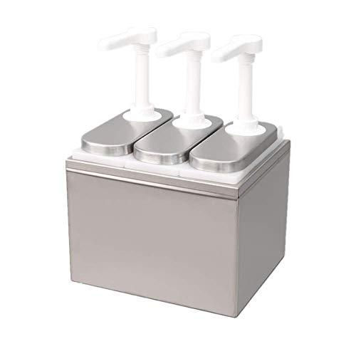 KUNHEWUHUA 1L/2L/3L Sauce Dispenser Pomp RVS Condiment Pomp Station voor Salade Jam kruiden Saus Squeeze (3L)