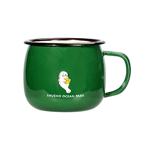 Taza de café para acampar de esmalte, patrón de dibujos animados lindo bueno para la taza de bebida diaria para niños (verde)