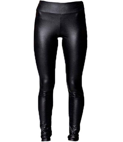 A-Express® Pantalones de tiro alto negro brillante aspecto mojado de piel sintética leggings de longitud completa - EU42