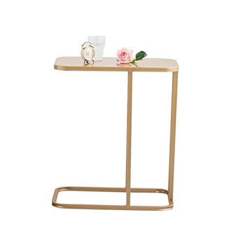 NYKK End Tables Modern Coffee Table Sofa C-Shaped Portable Office Side Table Marble Surface End Table Nightstand Set (Color : Gold)