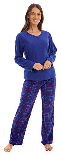 i-Smalls Damen Fleece Pyjamaanzug Niedlicher Hasen Aufdruck und Schlafmaske (Karriert) 54-56