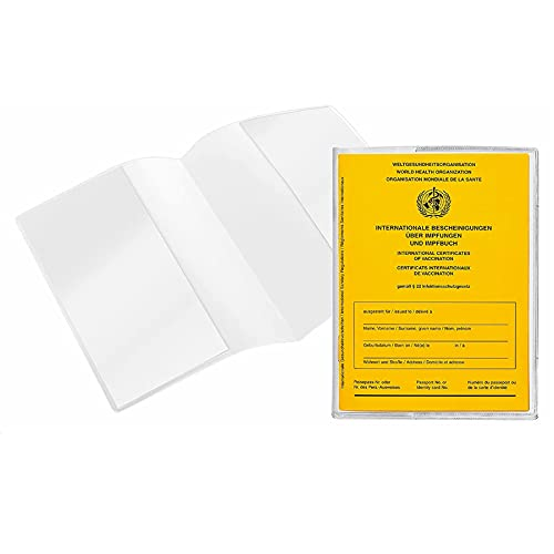 STRIR Impfpass Hülle neuer Impfpass 93 x 130 mm   Schutzhülle für Impfausweis neu   oft ausgestellt nach 2008   Ausweishülle für internationales Impfbuch   doppelseitig transparent (1 Stück)