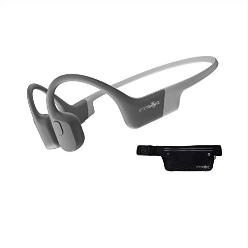 Aftershokz Aeropex Bluetooth Bone Conduction/Knochenschall Sport Kopfhörer mit Sportgürtel, wasserdicht Lunar Grey