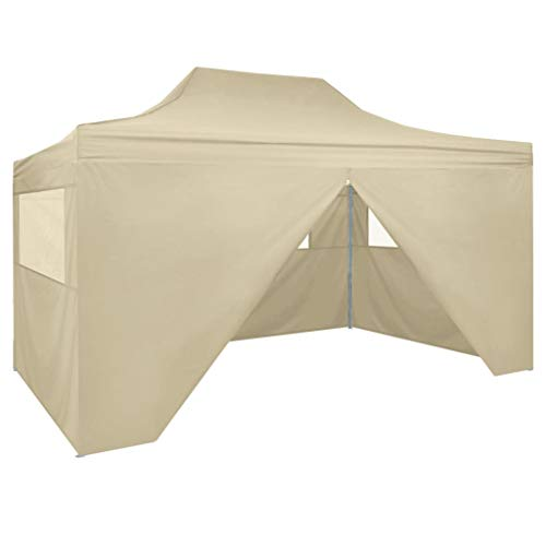 3x4.5 m Garden Pop Up Gazebo Tent 4 Side Walls Gazebos | Waterproof - Outdoor Marquee Tent Water Resistant for BBQs Wedding Party Awning Canopy festivals Coffee | Cream white