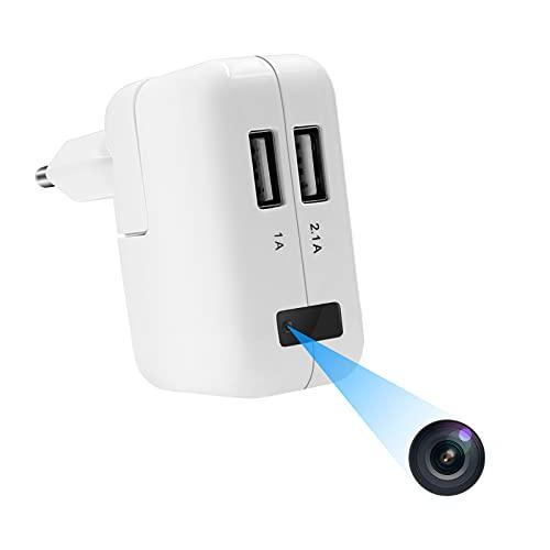 Cámara Oculta UYIKOO Cargador USB Cámara Espía HD 1080P Mini Cámara Espía Oculta con Detección de Movimiento y Grabación en Bucle para la Cámara de Vigilancia de Seguridad del Hogar