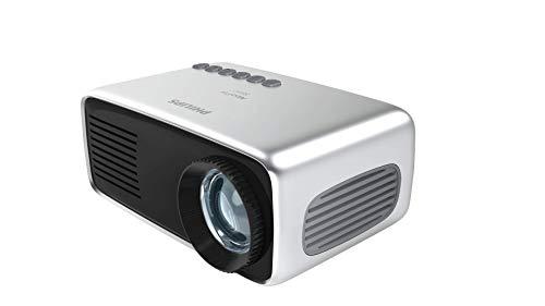 Philips NeoPix Start Mini-Projektor, tragbar, professionell, für Zuhause / Geschäft – 60 Zoll 1080p FHD LED Stereo-Lautsprecher 650 Lumen Gesamt-Konnektivität HDMI USB MicroSD (20 Jahre Lebensdauer)