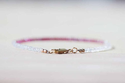LOVEKUSH 24k Gold Empath Protection 2.5-3mm Multi Colour Ruby, Pink Tourmaline & Moonstone Stracking Bracelet Rondelle, Faceted 18cm for Mens, Womens, GF, BF and Adults.
