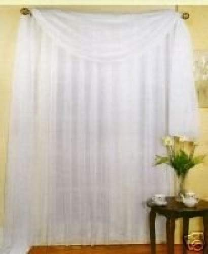 """SET OF 2, 84"""" LONG WHITE SHEER VOILE CURTAINS / TAILORED CURTAIN PANELS, 60"""" WIDE"""