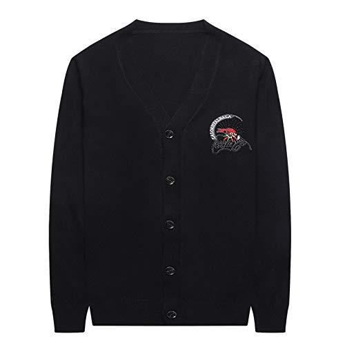 JYKING Herren V-Ausschnitt Slim Knit Stickerei Lässig Large Size Herbst Winter Cardigan Jacke Top Langarm Slim Fit Sweater Strickjacke Streetwear Schwarz M