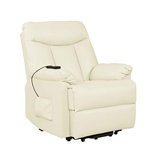 Domesis Renu Leather Power Lift Chair Recliner, Cream