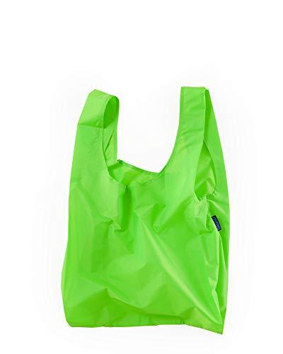BAGGU Standard Reusable Shopping Bag, Ripstop Nylon Grocery Tote or Lunch Bag, Neon Green
