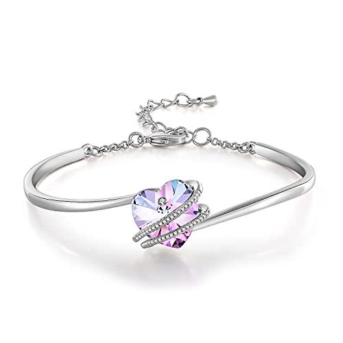 GEORGE · SMITH Classique Bracelet Coeur Femme Bracelet Argent Femme avec Cristal Rose Bleu, Bracelet Femme Réglable Cadeau Anniversaire Maman Femme
