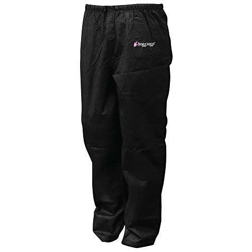 FROGG TOGGS Women's Classic Pro Action Waterproof Breathable Rain Pant, Black, Small