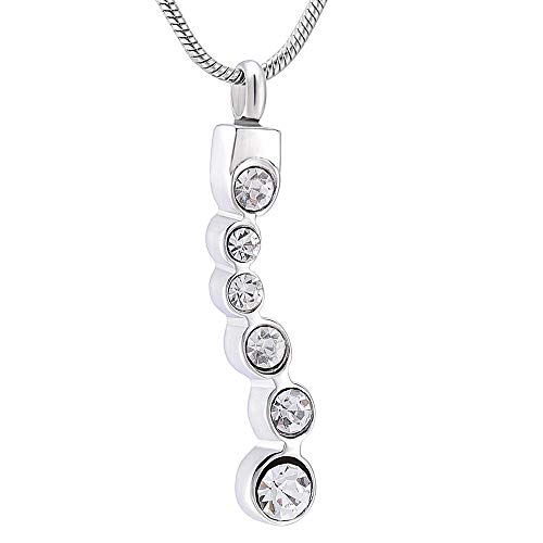 QQJJSUDIW Collar de cremación con Piedra de Nacimiento de Cristal, pones Las Cenizas en él-Urna Conmemorativa de la Mujer-Blanco_