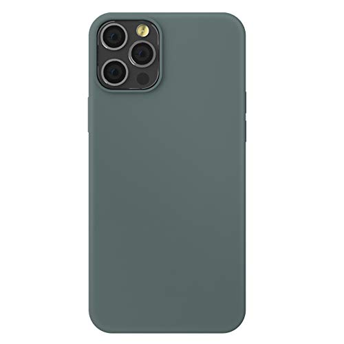 ZhinkArts Funda de silicona para teléfono móvil compatible con Apple iPhone 12/12 Pro, pantalla de 6,1 pulgadas, carcasa con forro de microfibra, color verde