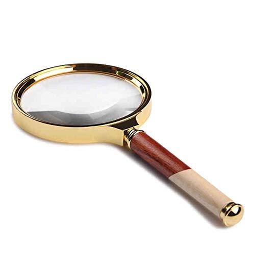 6X Handheld Glas Houten Handvat voor Schaal Meting Hd Lens Identificatie Wenwan Sieraden Cylinder Sieraden Identificatie Horloges DIY Ambachten Carving en Reparatie Vergrootglas
