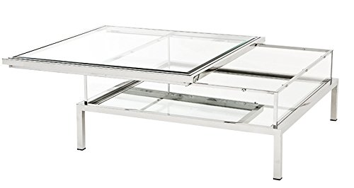 Casa Padrino Luxury Art Deco Designer Coffee Table Polished Stainless Steel with Mirror Glass - Luxury Collection