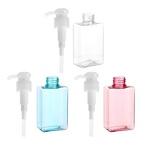 KALLORY Empty Shampoo Pump Bottles Plastic Toiletry Bottles Portable Travel Bottles Refillable Containers Leakproof Squeeze Bottles Miniature Toiletries Containers For Lotion Soap Cream 3pcs 100ml