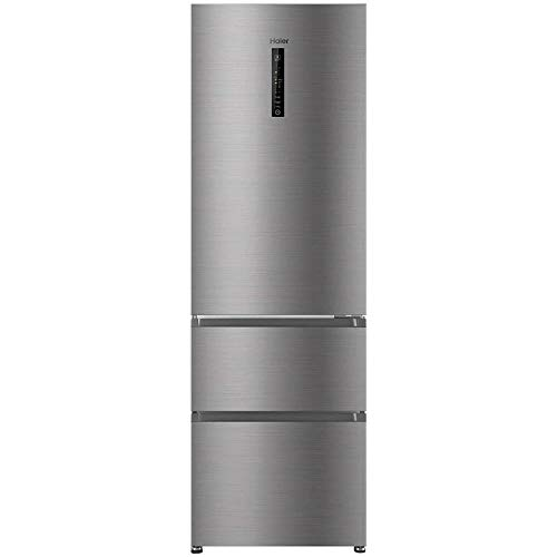 Frigorífico combi - Haier AFE735CHJ, 40dB, No Frost, 330L, Inverter, MyZone, SuperFreezing, LED, A++, Titanium