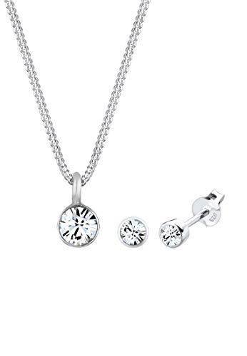 Elli Schmuckset Damen Elegant mit Kristallen aus 925 Sterling Silber