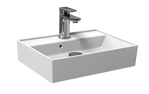 Aqua Bagno Basic | Design Waschbecken Plan | Aufsatz-Waschbecken Eckig | Gäste-WC | Waschtisch | Aufsatzbecken | Keramik | Weiß | 50 x 38 x 13 cm