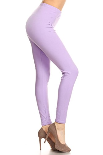 LDX128-Lilac Basic Solid Leggings, Plus Size