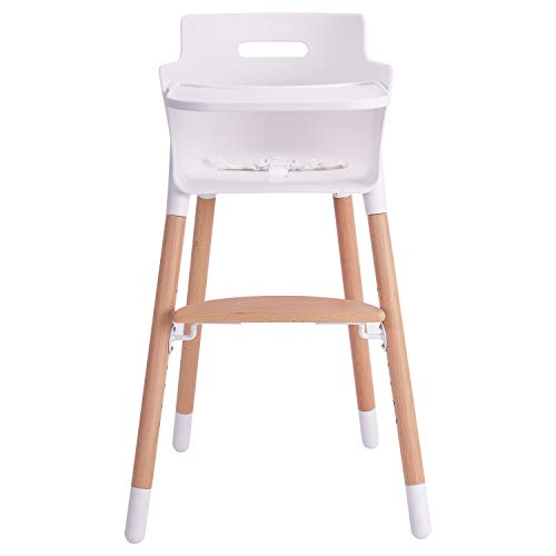 Lowest Prices! More kiss Wooden High Chair for Babies and Toddlers - with Harness, Removable Tray, a...