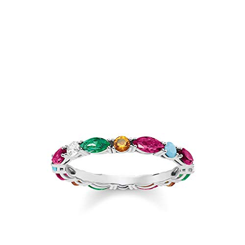 Thomas Sabo Damen-Ring Glam & Soul Farbige Steine 925 Sterling Silber Größe 48 TR2185-477-7-48
