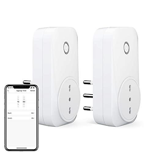 LoraTap Presa WiFi Italiana 16A 3500W 2pz Smart Plug Timer, Funziona con App Smart Life, Compatibile con Alexa, Google Assistant e IFTTT, Controllo Remoto Luci ed Elettrodomestici con Telefono