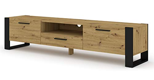 BIM Furniture TV Stand Nuka 200 cm Lowboard kast TV tafel dressoir commode Hi-Fi tafel Artisan Eiche
