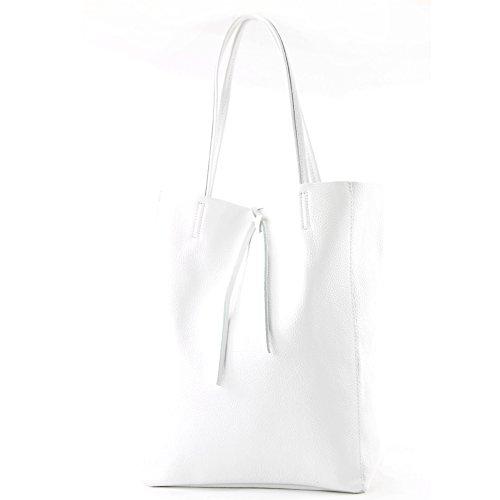 borsa in pelle Borsa donna Borsa shopper Borsa a tracolla grande in pelle T163, Colore:Bianco