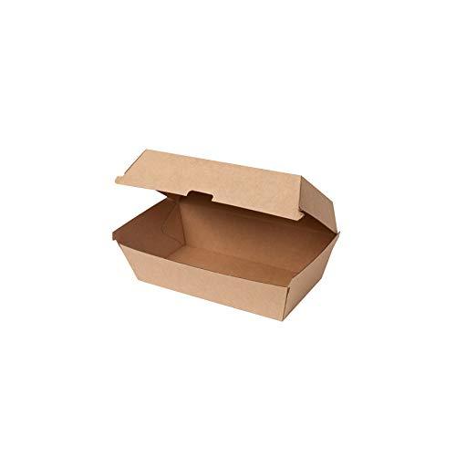 GREENBOX Cajas de cartón de Take Away, 50 unidades, robustas cajas de comida rápidas con tapa alta, caja de cartón kraft I estable para llevar, marrón 21,4 x 11,4 x 8,5 cm, biodegradables