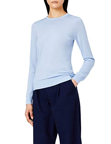 Marca Amazon - MERAKI Jersey de Merino Mujer Cuello Redondo, Azul (Light Blue), 40, Label: M