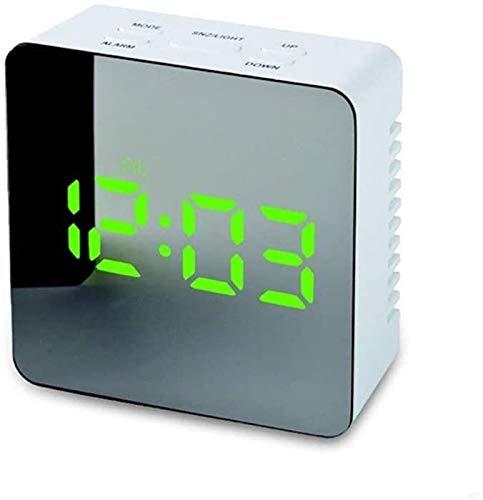 LED Digital Mirror Reloj Tiempo Temperatura Gran Pantalla Electrónica Rectángulo Digital Escritorio Reloj Mesa Reloj despertador Reloj de Alarma Ajustable Reloj de alarma, Mesa de noche, Escritorio, E