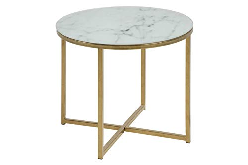Amazon Brand - Movian Rom - Mesa auxiliar para lámpara, 50 x 50 x 42 cm, blanco