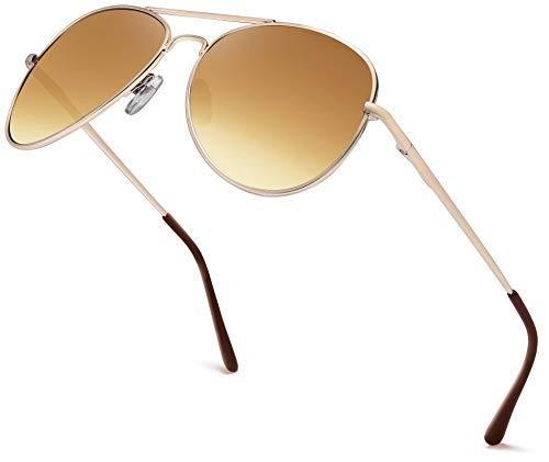 Hatstar Premium Set, Pilotenbrille Verspiegelt Fliegerbrille Sonnenbrille Brille mit Federscharnier (80 | Rahmen Gold - Glas Braun verlauf)