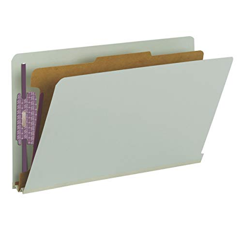 """Smead 100% Recycled End Tab Pressboard Classification File Folder with SafeSHIELD Fasteners, 1 Divider, 2"""" Expansion, Legal Size, Gray/Green, 10 per Box (29800)"""