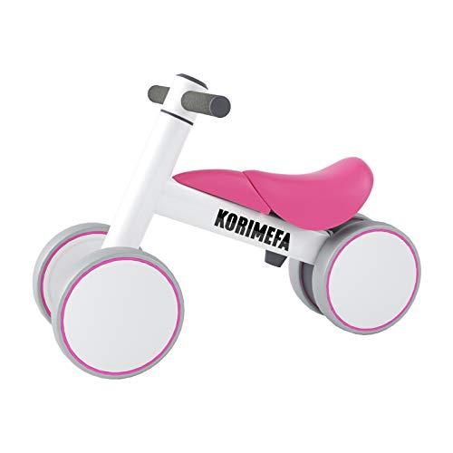KORIMEFA Bicicleta de Equilibrio para Bebés 10-36 Meses sin Pedalescon 4 Ruedas Ultraligera y Triciclos Bebes, Correpasillos Bebes 1 Año (Rosa)